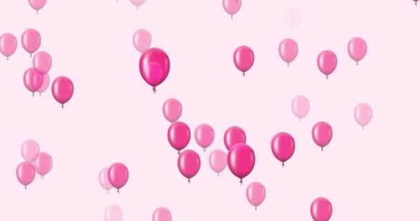 animace, létající balónky fialové na tmavém pozadí.