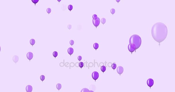 Animation Flying Violet Balloons On A Dark Background Stock Video