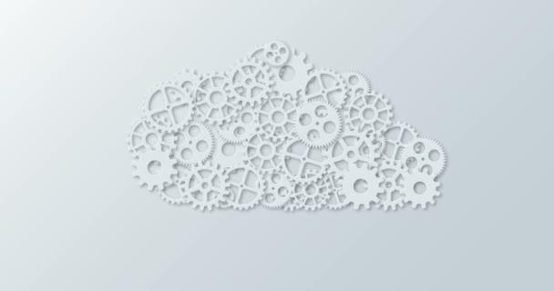 animaci moderní koncepce počítače cloud a mechanismus gear