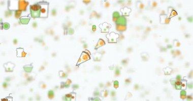 Mozgó háttér hurok élelmiszer-ikonok