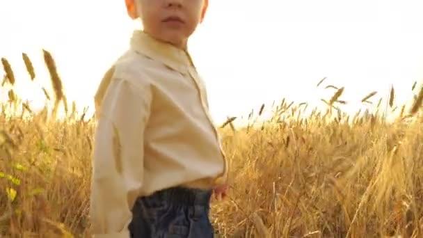 Kleiner Junge läuft bei Sonnenuntergang auf dem Feld.