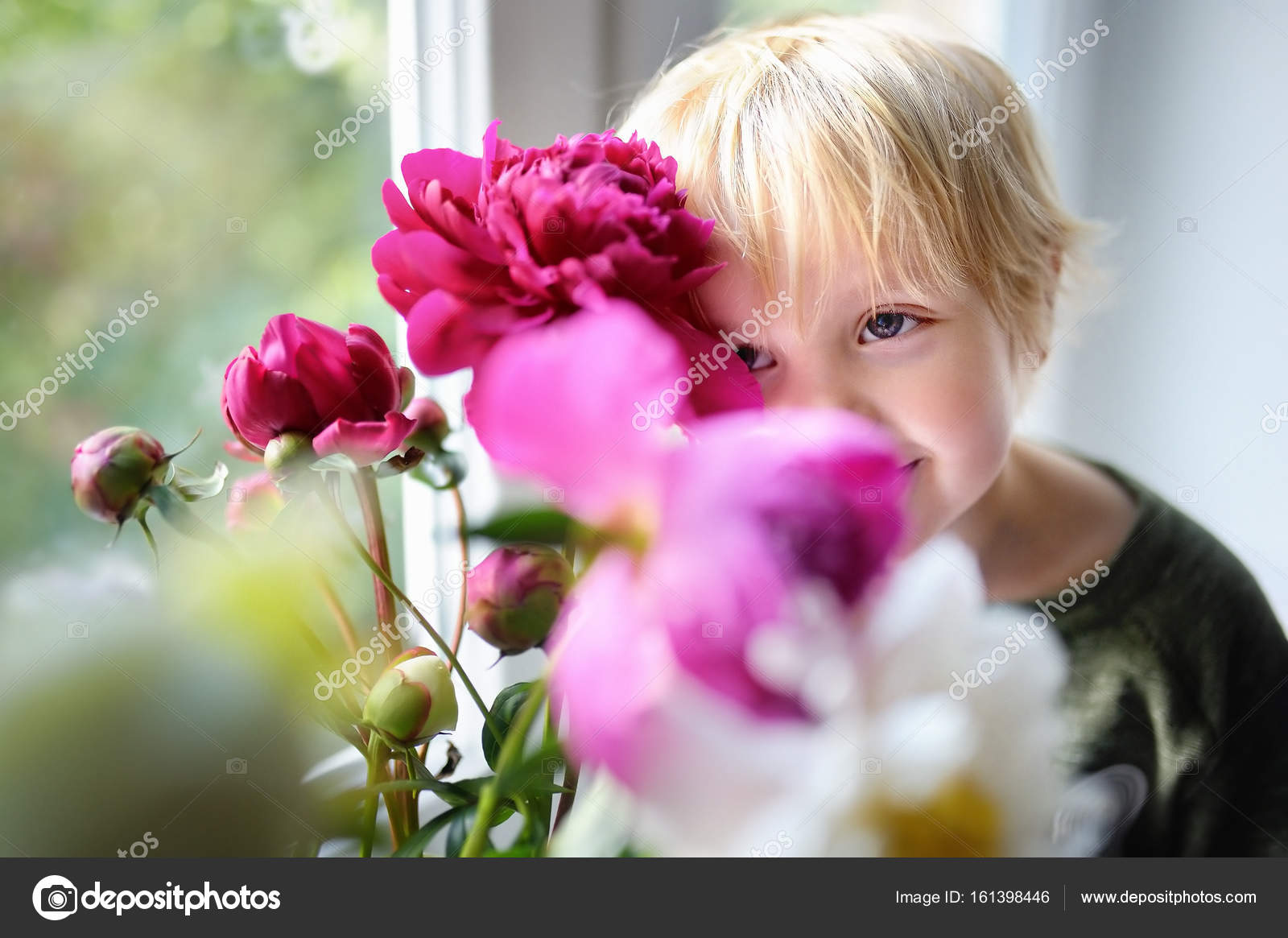 Cute little child and amazing bouquet of white and purple peonies cute little child and amazing bouquet of white and purple peonies beautiful flowers on window sill at home photo by marysmn izmirmasajfo