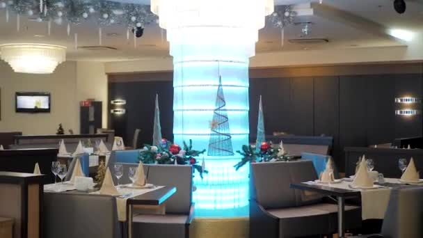 Christmas decoration of beautiful hotel restaurant