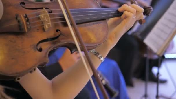 Fiatal női hegedűművész hegedül, közelről nézi. Zene a lakomára
