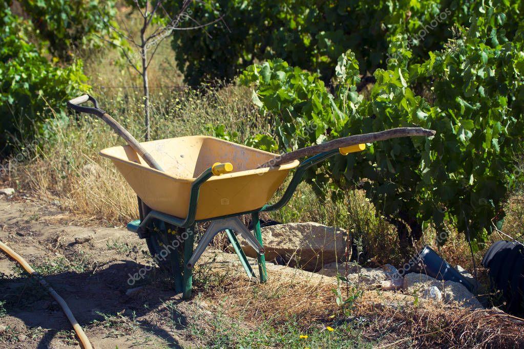 small garden yellow cart