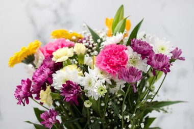 beautiful flowers on light gray background