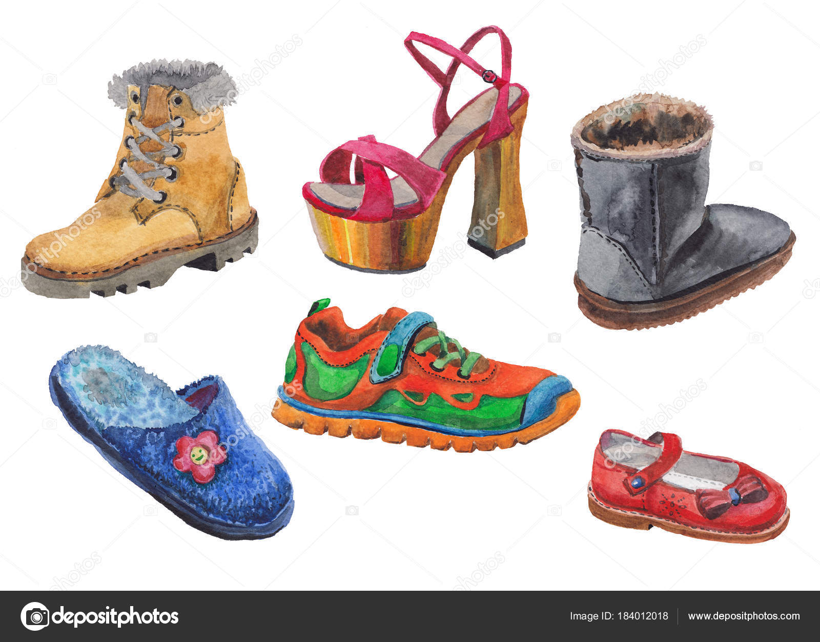 ac32caa7edcc Watercolor Drawing Depicting Variety Shoes White Background — Stock Photo