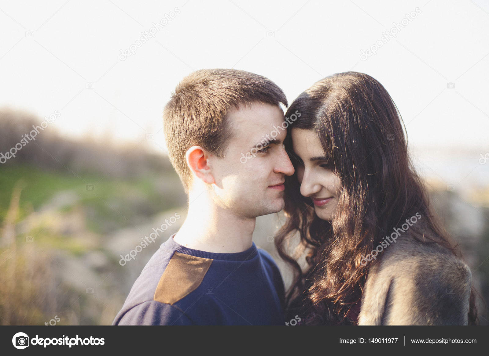 Husband And Wife In Nature Early Spring Happy Couple On Vacation Lovers Are