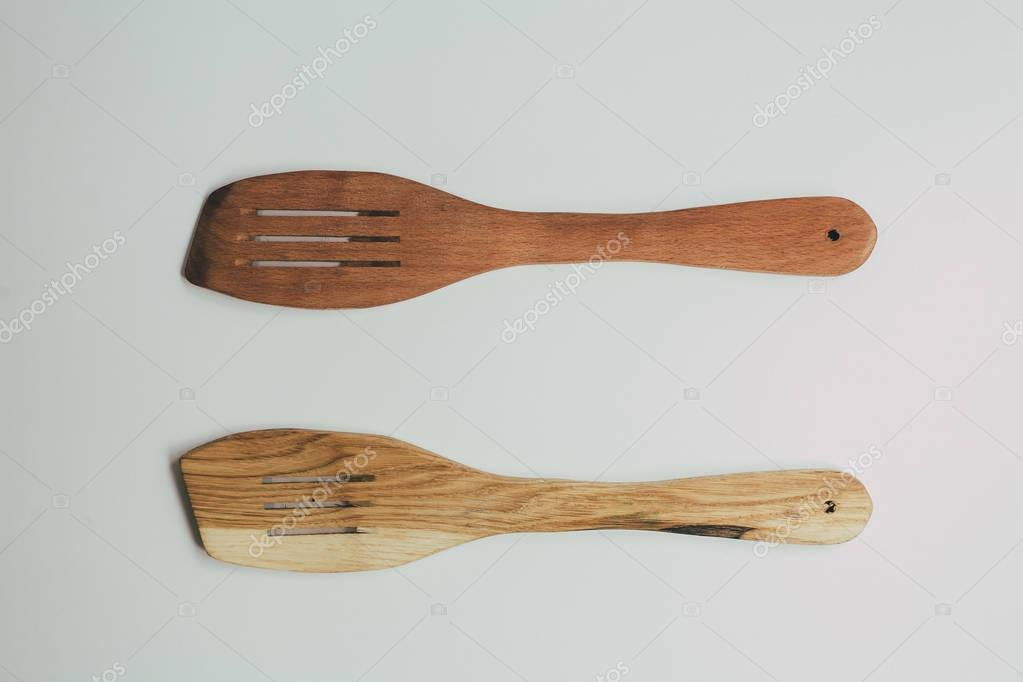 Rustic Kitchen Decoration with wooden cutlery. Country kitchen decoration.
