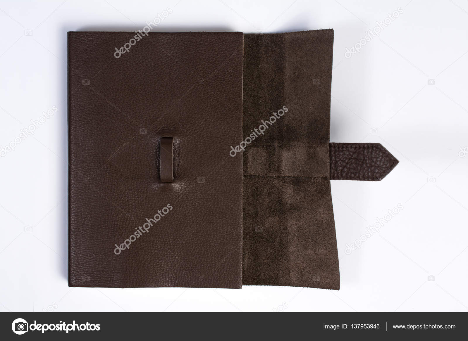 bound leather journal book half opened isolated on white top vie