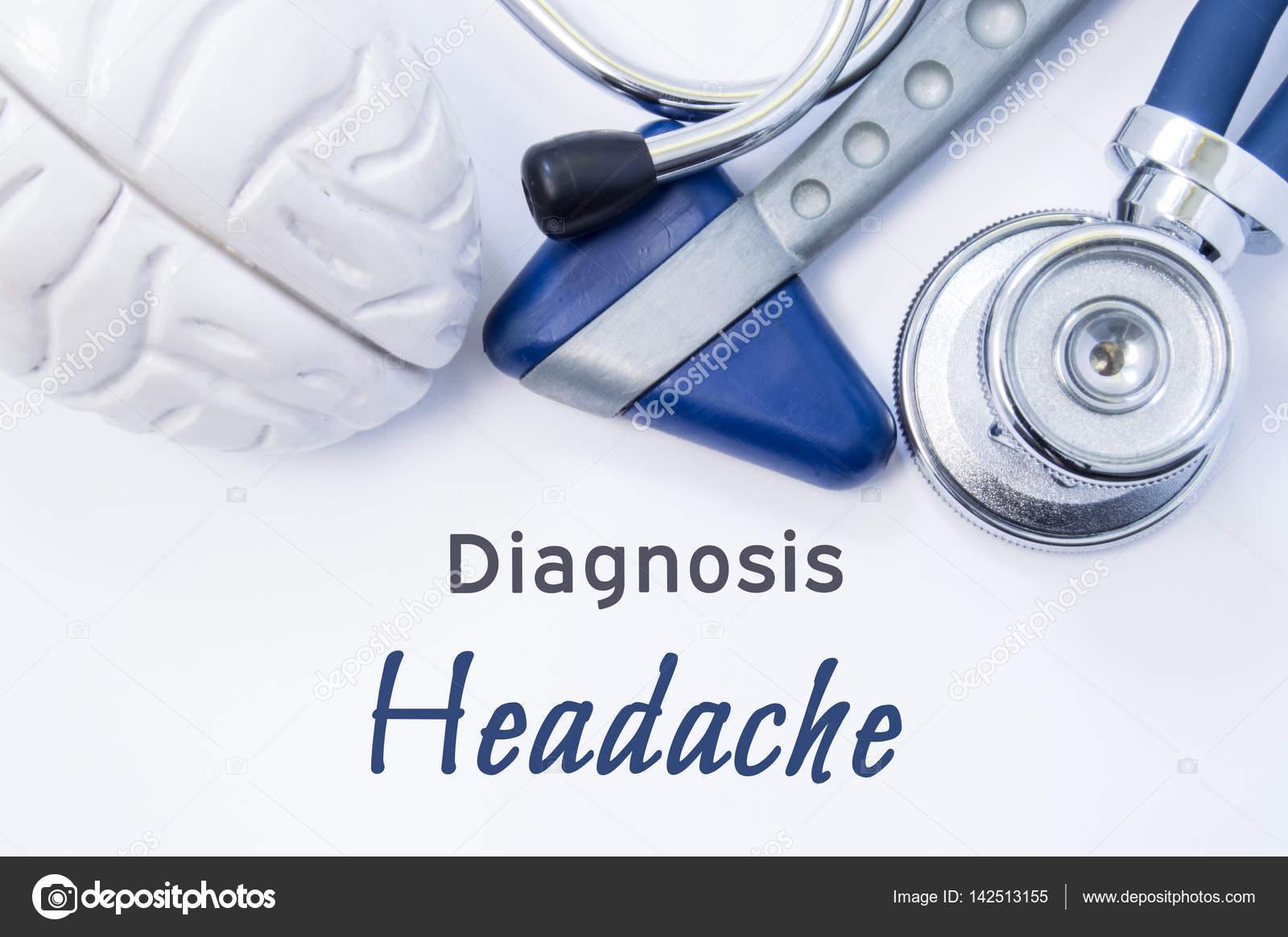 Diagnose von Kopfschmerzen. Anatomische Gehirn Figur, neurologische ...