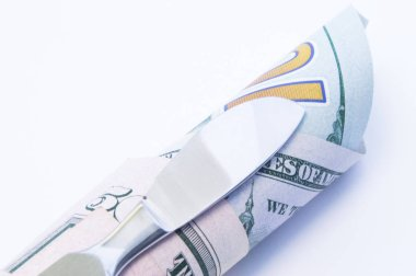 Concept of value, cost and price in surgery. Surgical medical scalpel lying on twisted tube of money - dollar bills. Cost of surgical operations and procedures in medicine (plastic) and veterinary