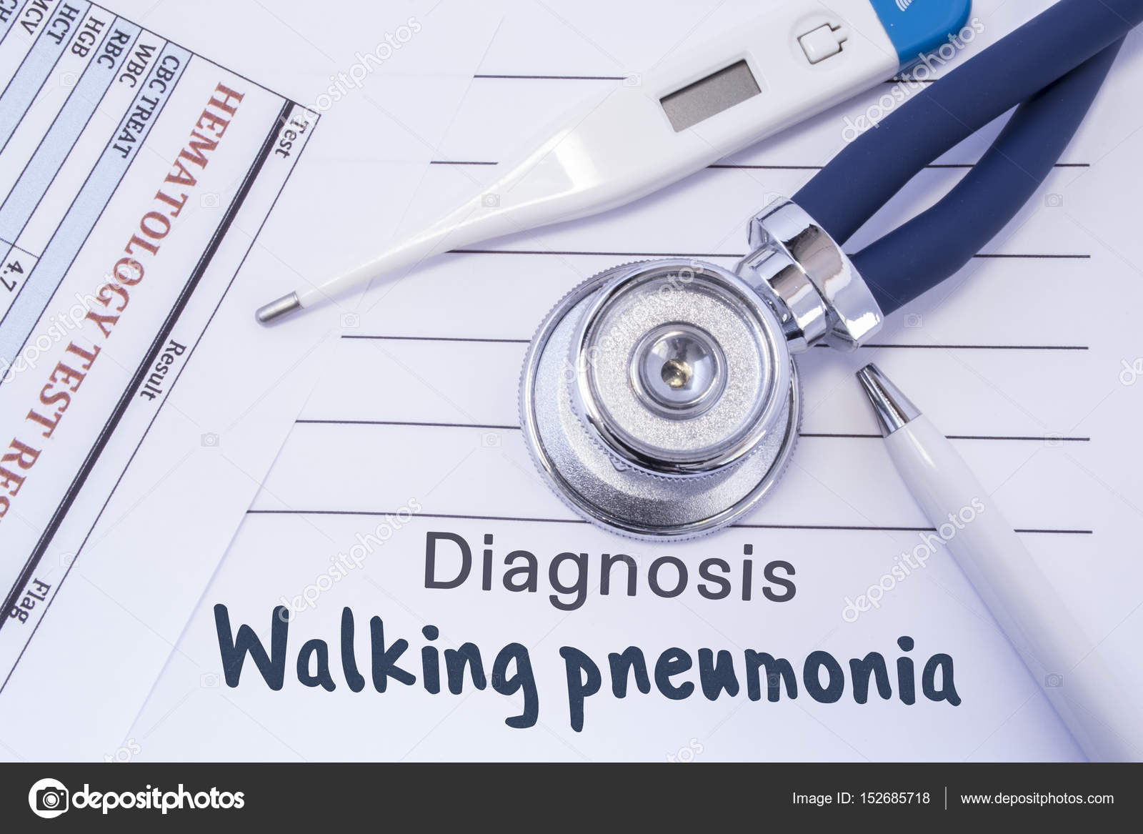 Diagnosis of walking pneumonia. Stethoscope, electronic thermometer on new patient admissions, new patient charting, medical triage forms, surgery medical forms, insurance medical forms, diagnosis medical forms, patient info forms, printable nursing assessment forms, hipaa patient consent forms, blank patient information forms, new baby medical forms, blank medical history forms, new patient signs, physical medical forms, patient health forms, new patient intake form, emergency medical forms, new patient information form, printable doctor fill out forms, new patient form template,