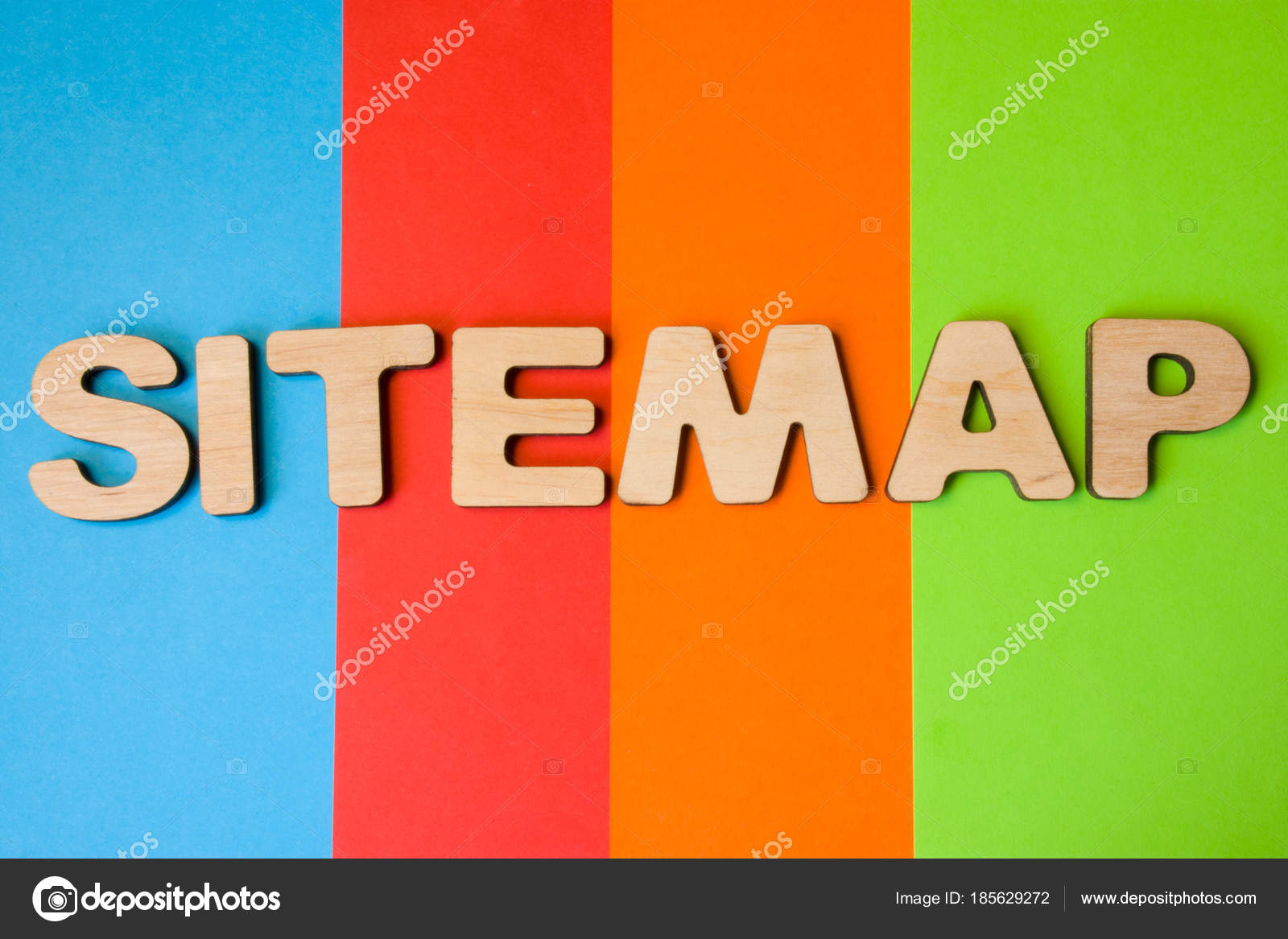 word sitemap large wooden letters colored background colors blue