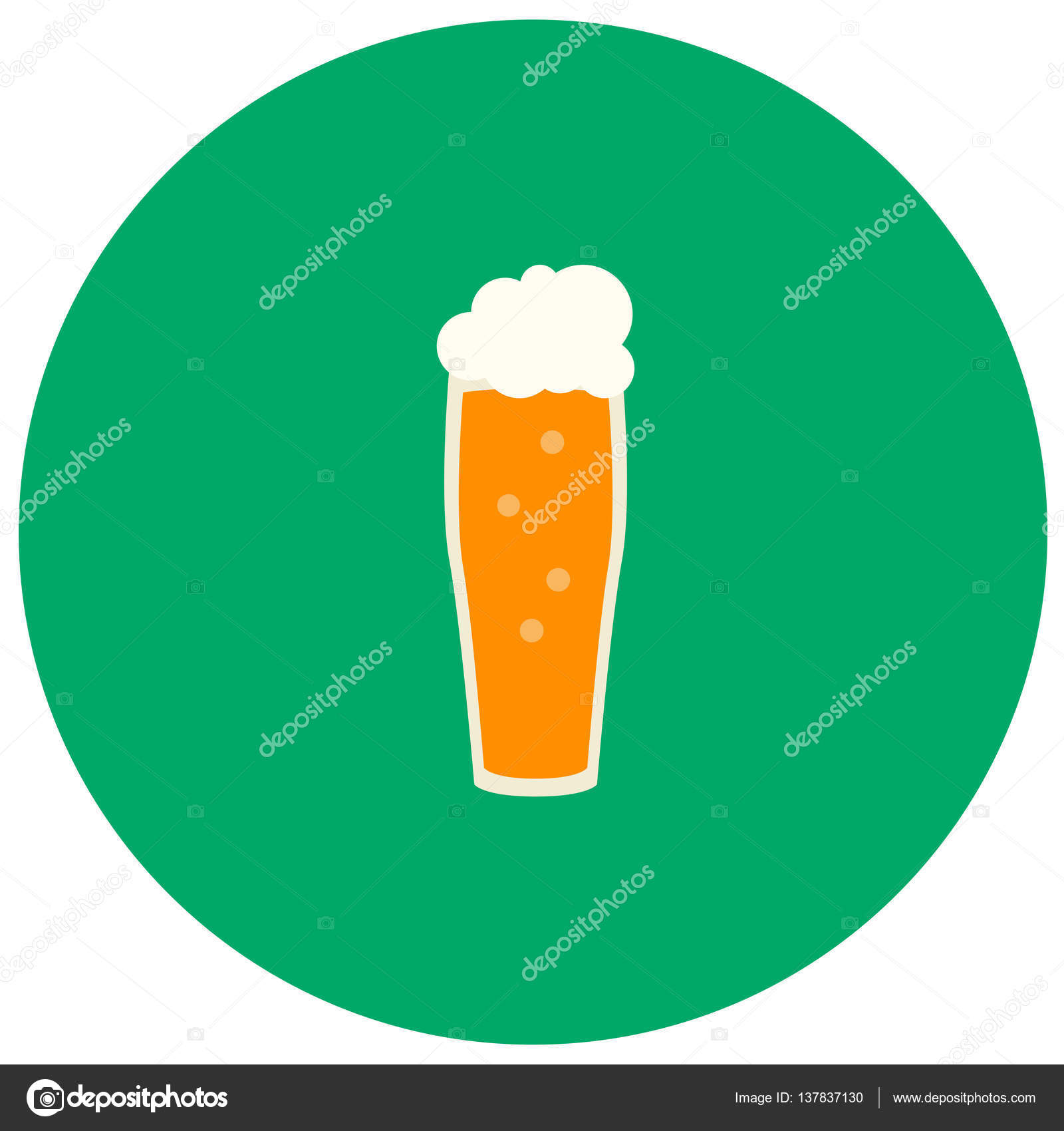 Beer cute icon in trendy flat style isolated on color background ...