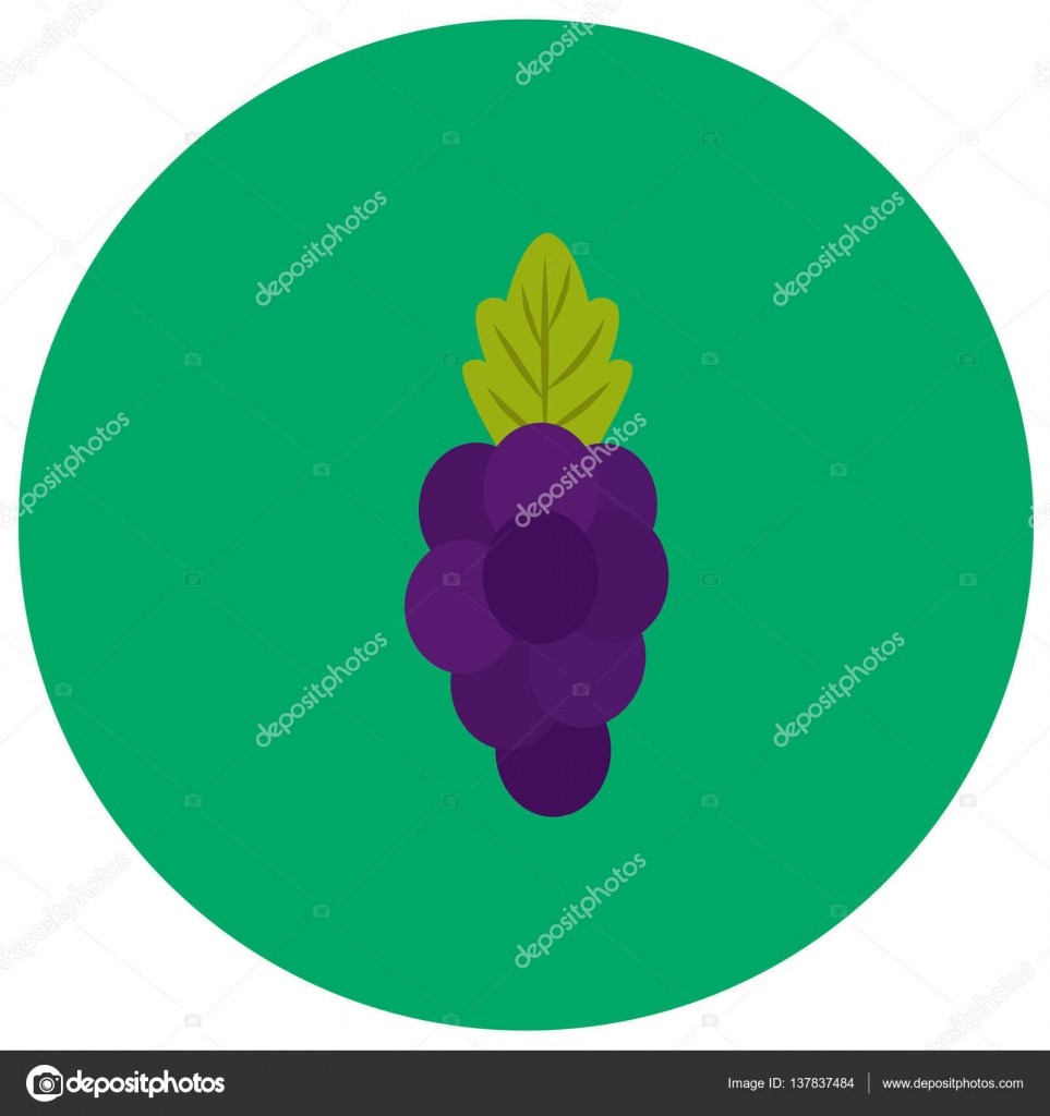 Grape cute icon in trendy flat style isolated on color background ...