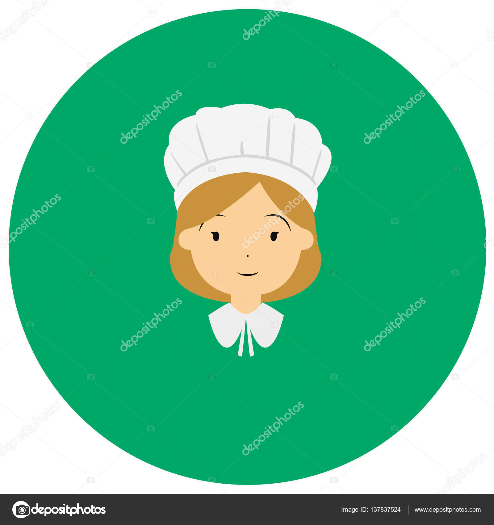 American colonial thanksgiving women cute icon in trendy flat style ...