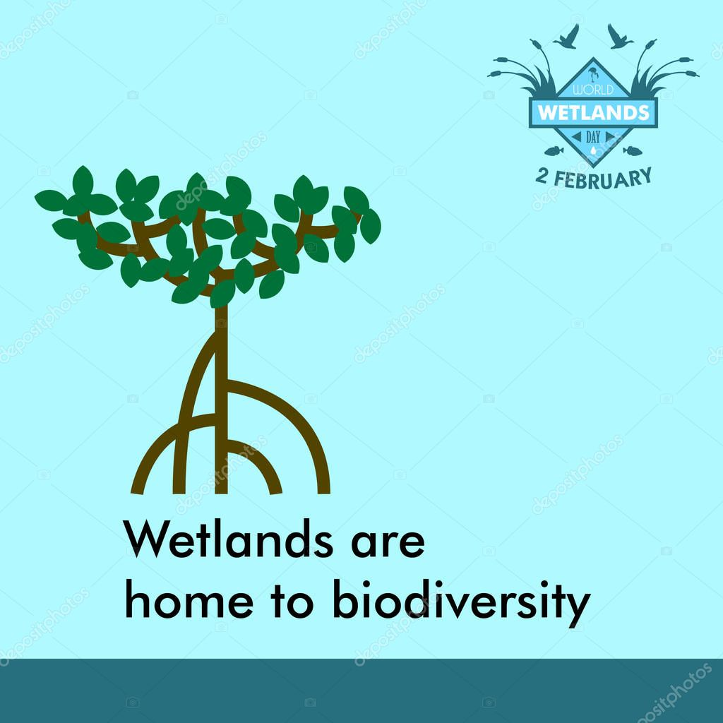 World wetlands day cartoon design illustration, campaign asset for use on social media
