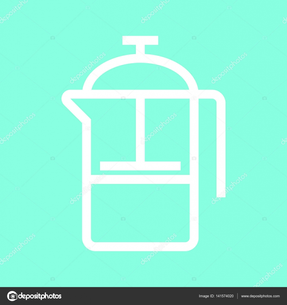 French press icon in trendy flat style isolated on grey background ...