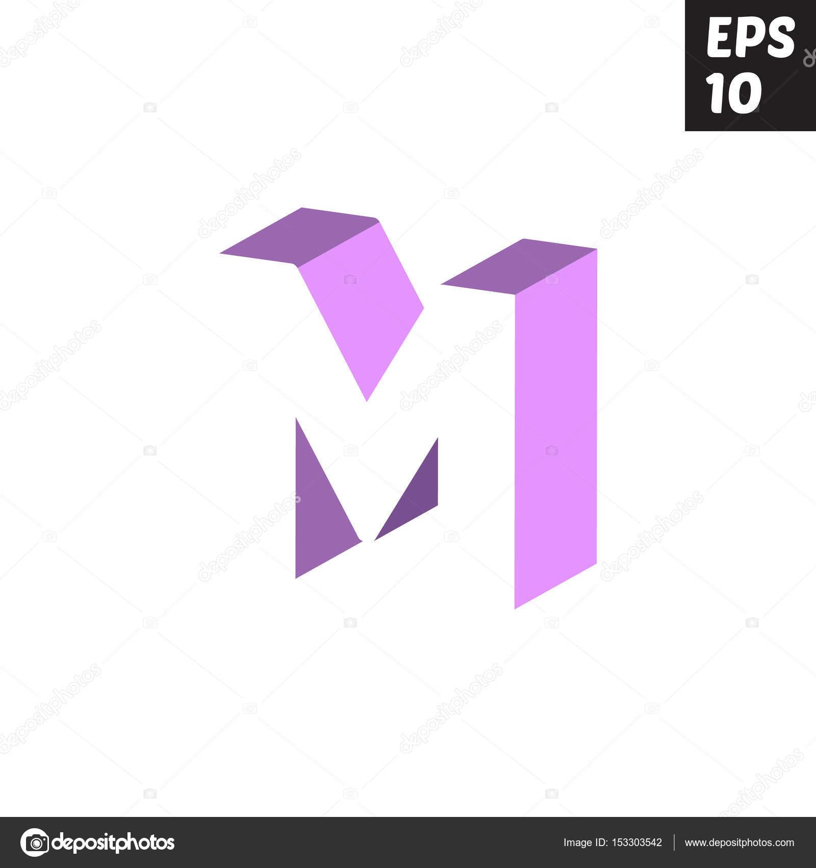 Initial letter M lowercase logo design template block violet