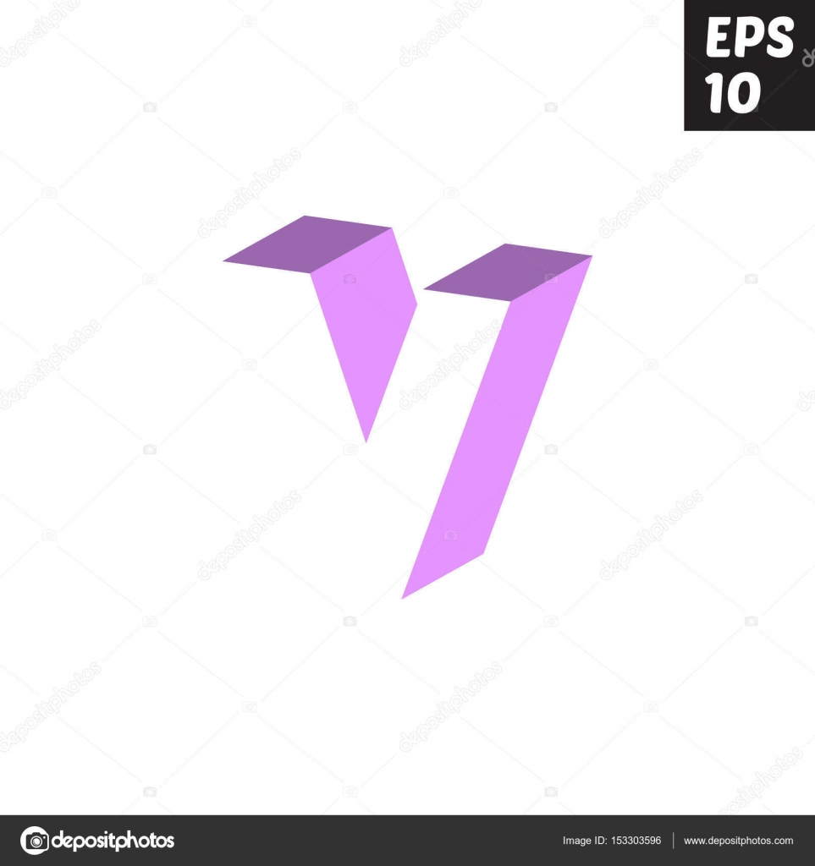 Initial letter V lowercase logo design template block violet ...