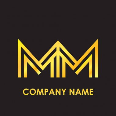 Initial letter MM elegant gold reflected lowercase logo template in black background