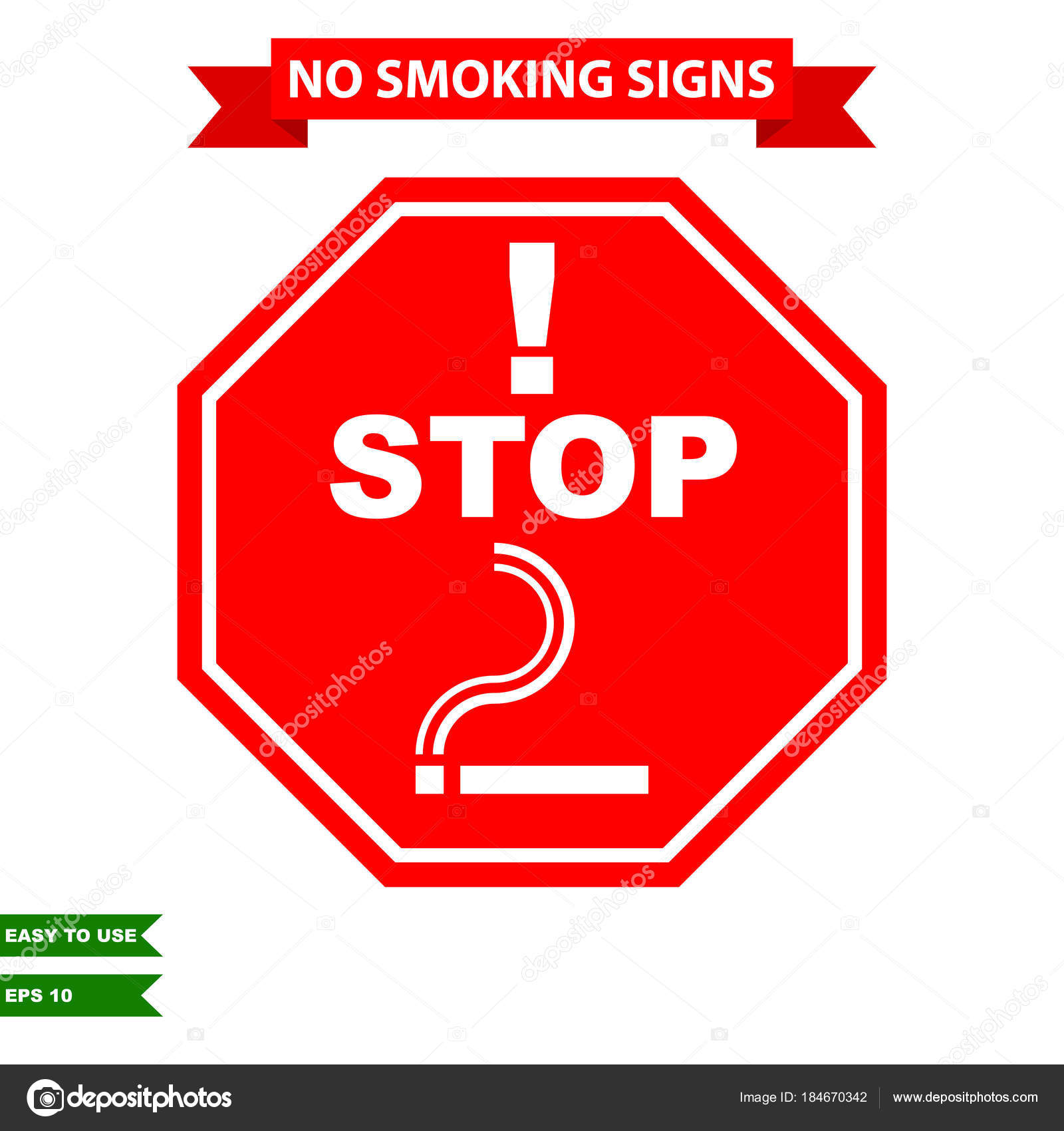 Caution Stop Smoking Air Clean Area Sign Vector Style Version