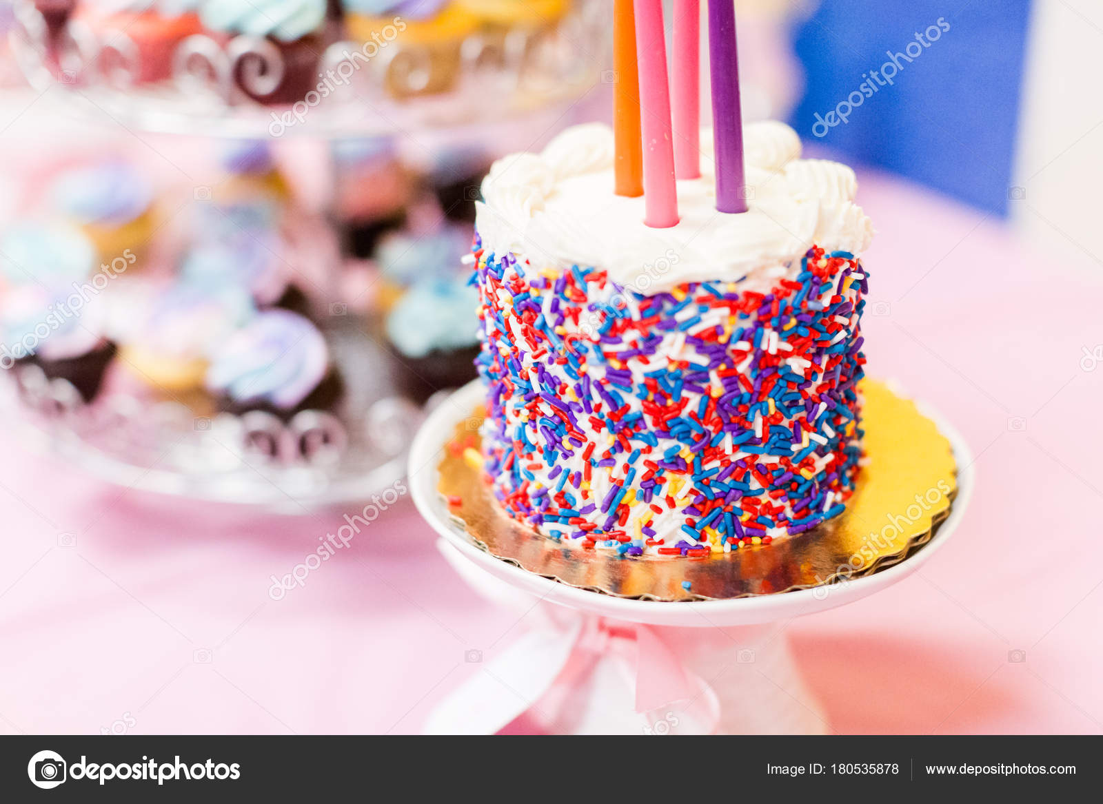 Party Desserts Cake Table Little Girl Birthday Party Stock Photo