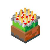 Dort se svíčkami v minecraft stylu