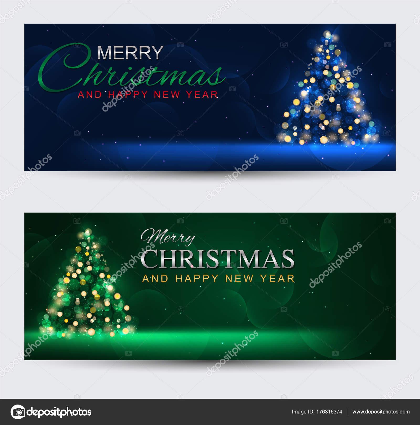Satz von Elegant Banner Frohe Weihnachten und glückliches neues Jahr ...