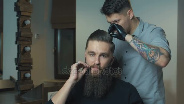 New Hairstyle Side View Of Young Bearded Man Getting Groomed At