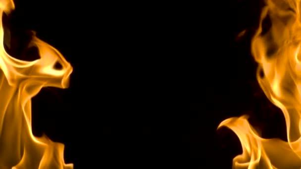 Oheň flameson na černém pozadí. Zpomalený pohyb