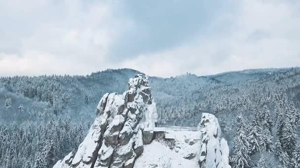 Letecký pohled na vrchol hory majestátní sníh. Zimní krajina pozadí. Tustan Karpaty Ukrajina
