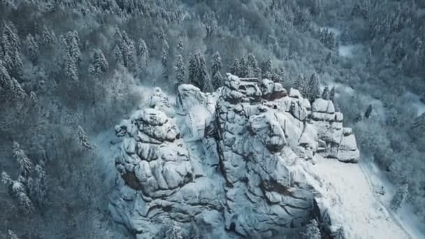 aerial view of majestic snow mountain peak. winter landscape background. Carpathian Mountains tustan Ukraine.