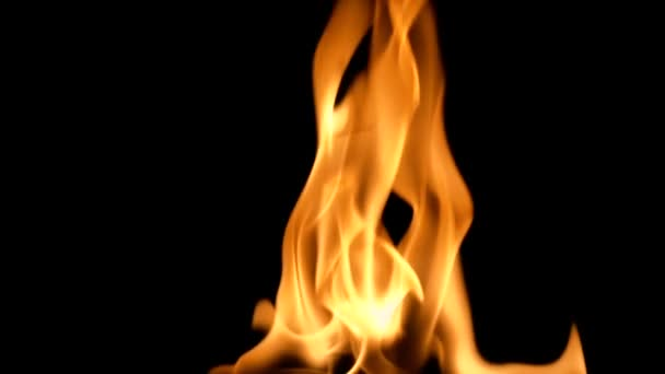 Pomalý pohyb čistého ohně, zapálení a hoření. Na černém pozadí svítí řadu opravdových plamenů. Skutečné záběry.