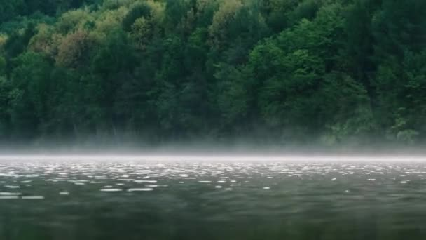 Fog over the river on a morning summer day. Beautiful scenery on the background of water with grass.