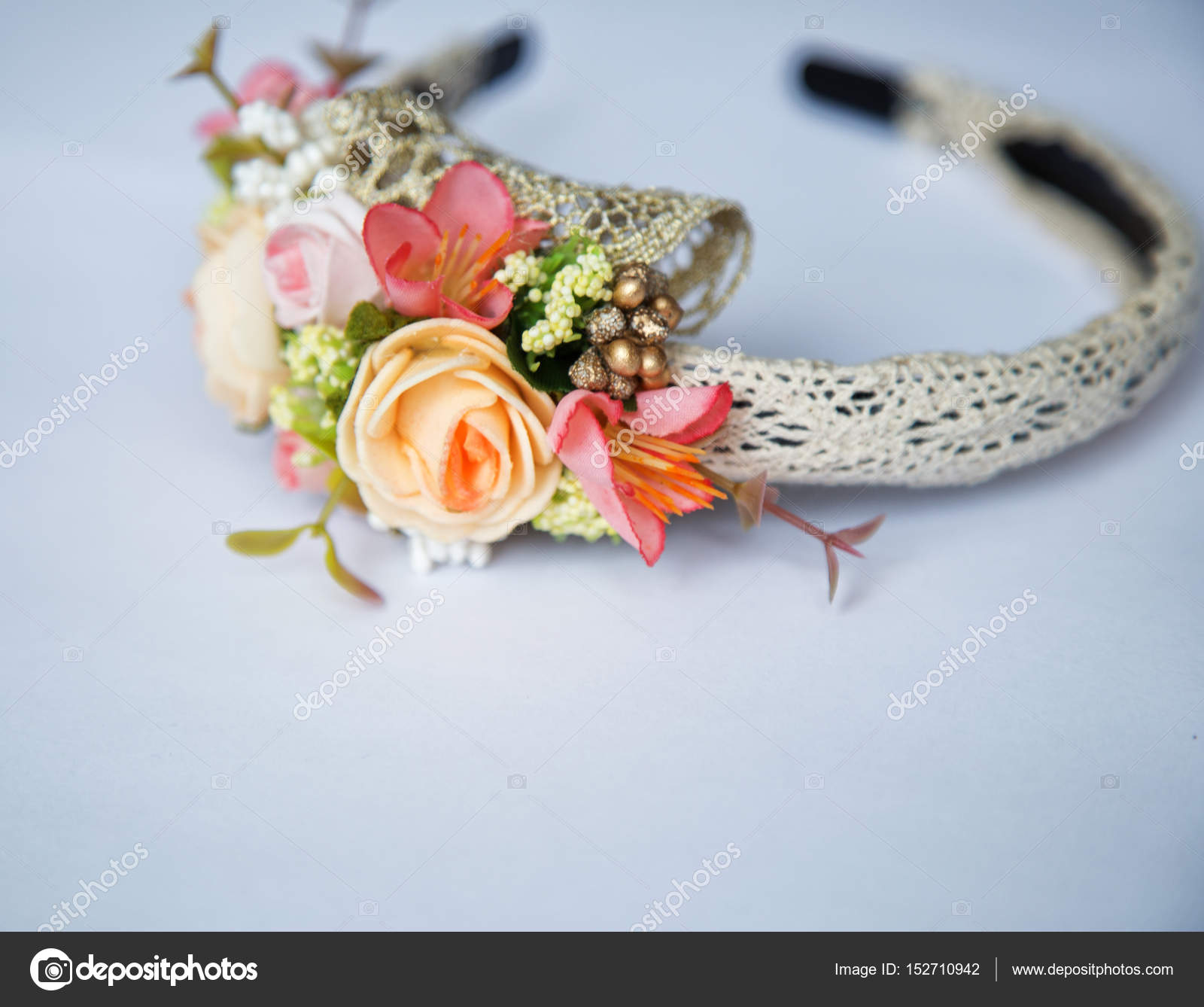 Headband With Flowers On White Background Stock Photo