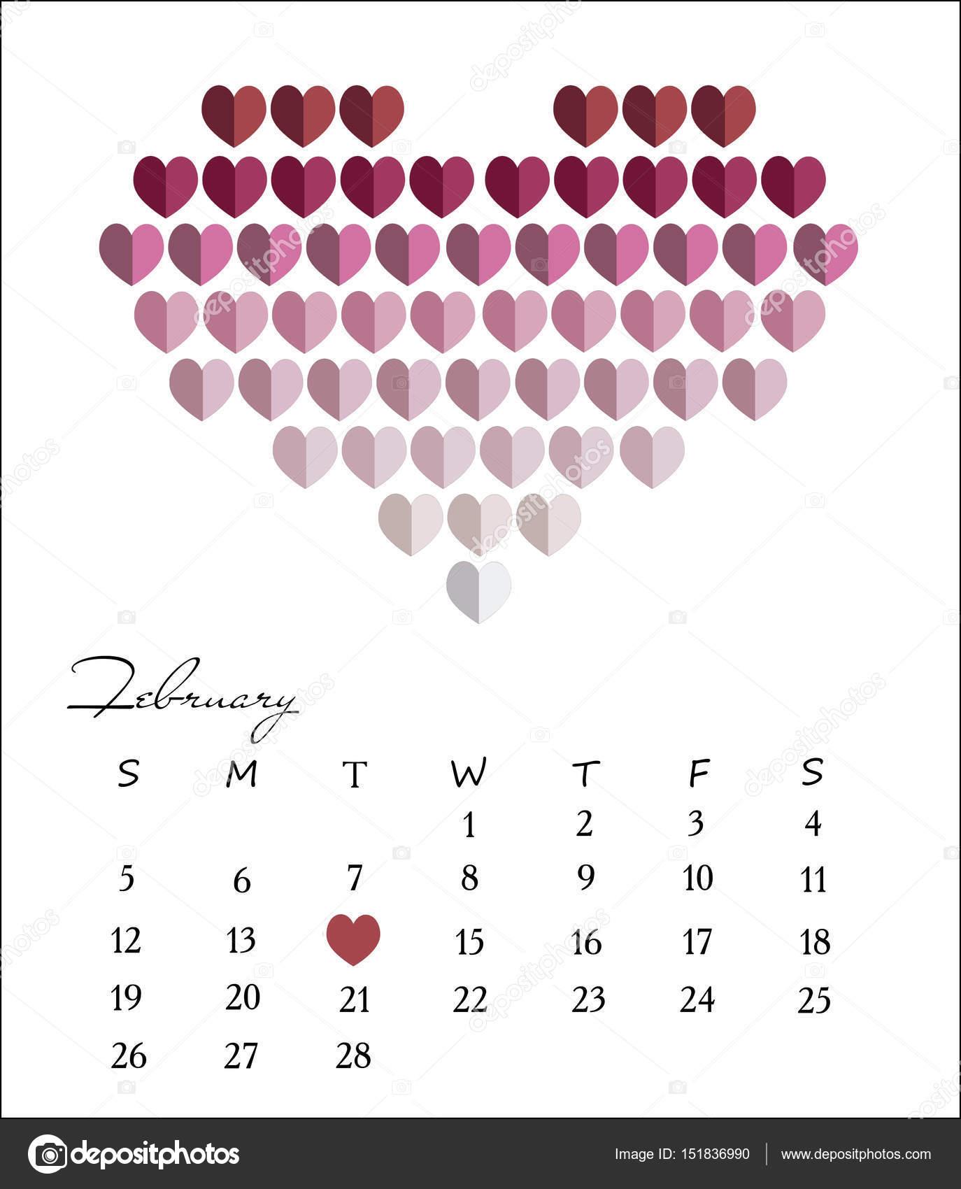 Februar 2017 Kalender Design. Schreibtisch-Kalendervorlage. Vektor ...