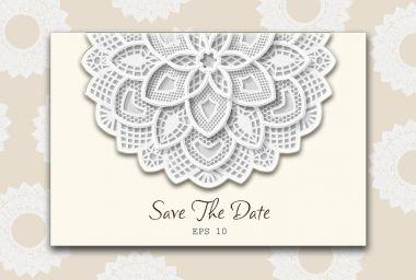 DIY laser cutting vector envelope. Wedding die cut invitation template. Cutout silhouette card. Scrapbook carved paperwork. Floral layout. Wedding Invitation or greeting card with floral mandala.