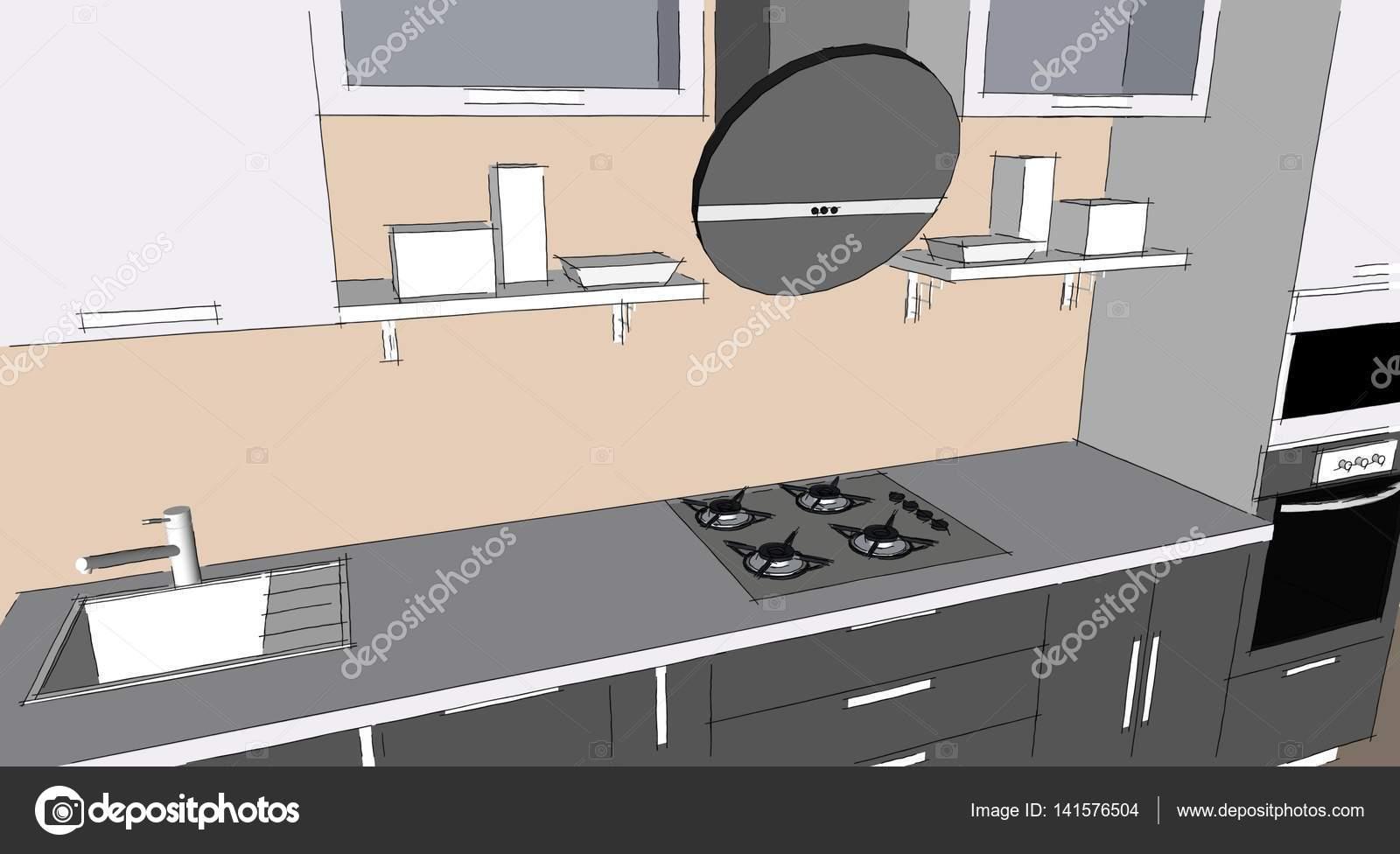 Esbo Ar O Desenho 3d Interior Moderna Cozinha Cinza Com Arm Rios