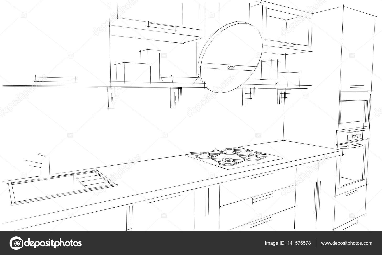 Schets tekening van 3d moderne keuken interieur met ronde for 3d schets maken