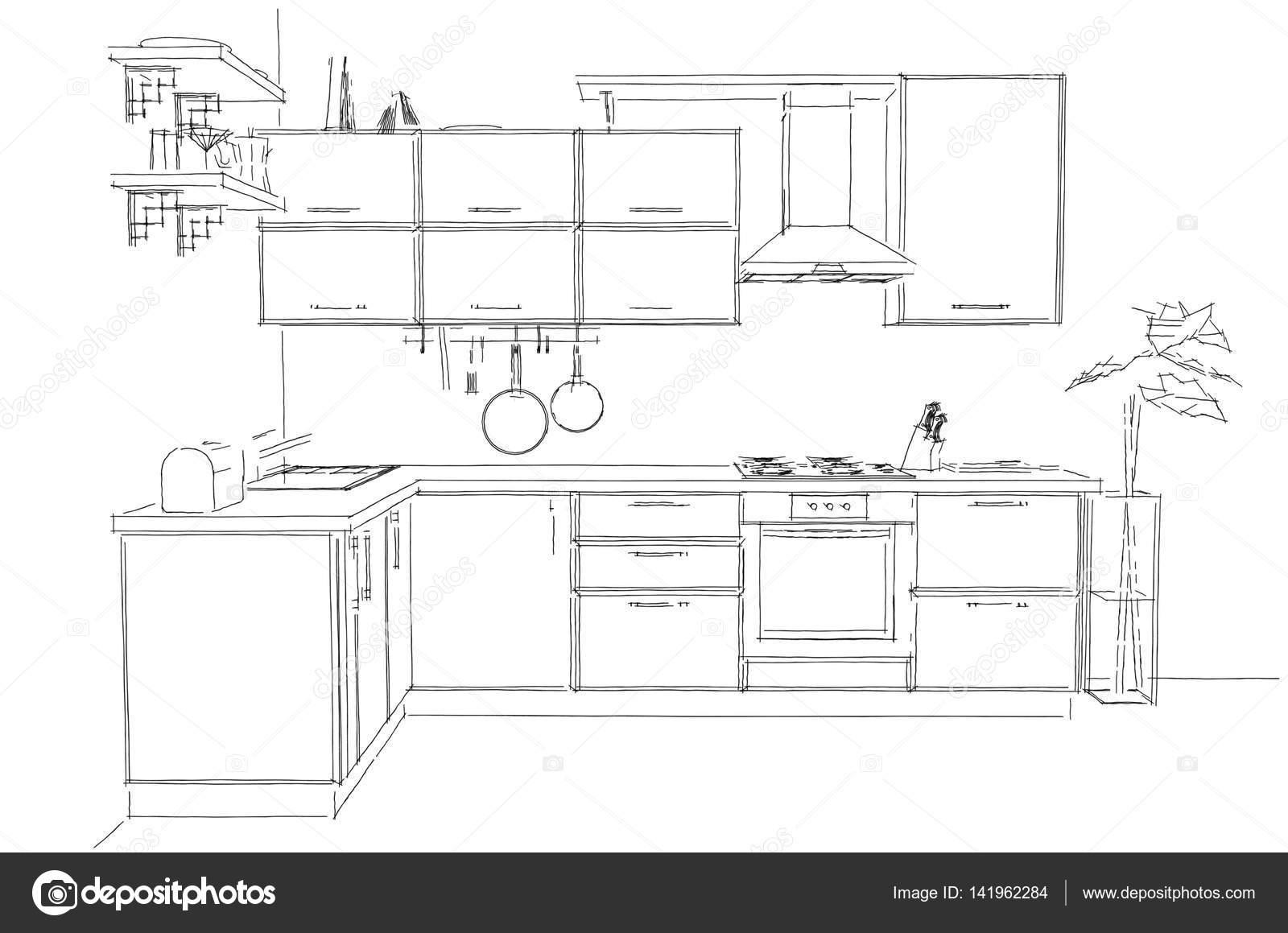 Modern Corner Kitchen Contour Sketch Black And White. Freehand  Illustration. Front View U2014 Stock