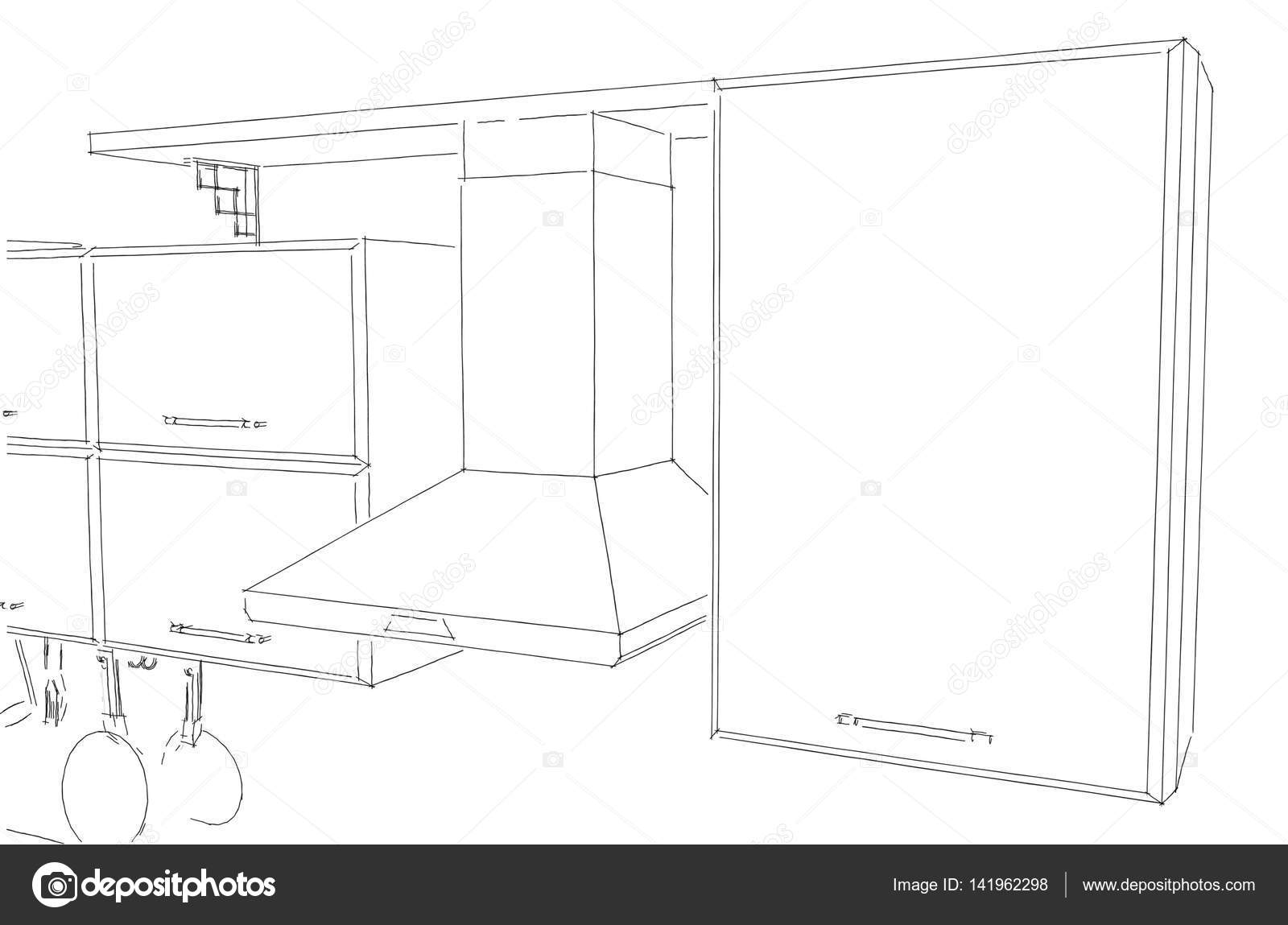 Kitchen Hood With Cabinets And Shelf Layout Sketch Stock Photo