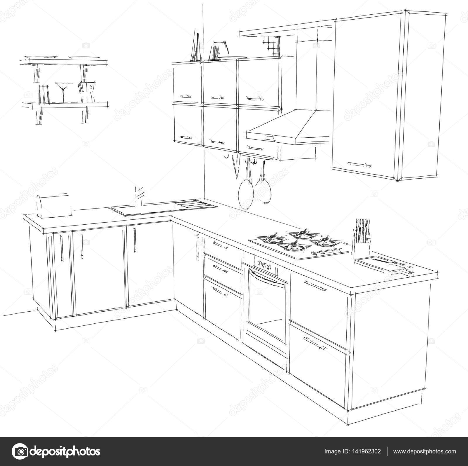Drawings 3d black and white modern corner kitchen contour