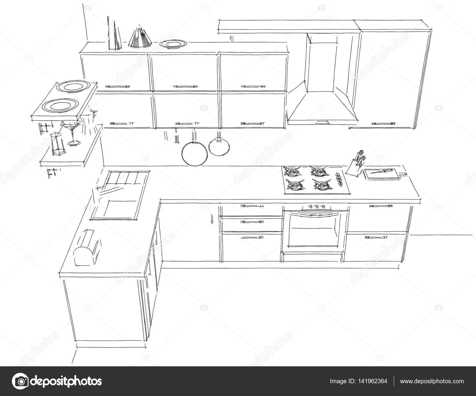 Modern corner kitchen contour sketch black and white 3d for Disegnare cucina 3d gratis