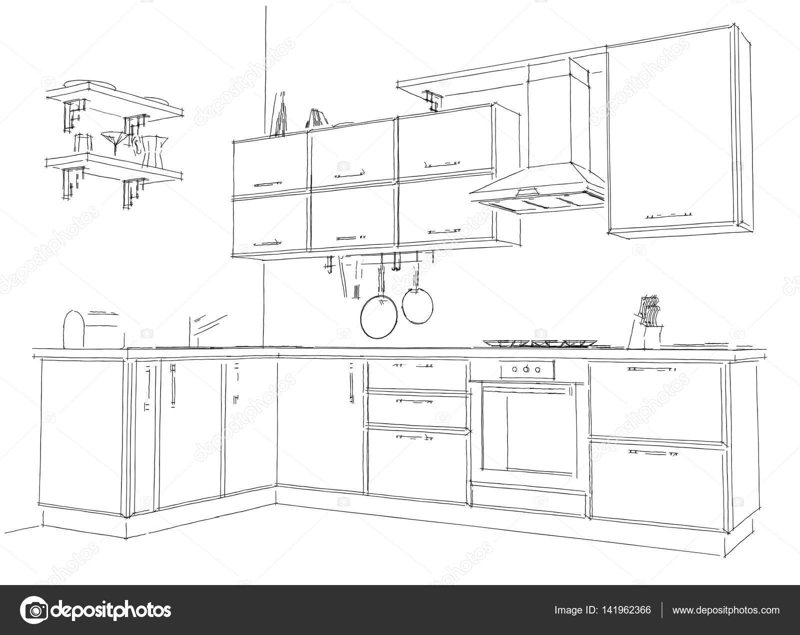 Modern Corner Kitchen Outline Sketch Black And White. 3d Illustration. U2014  Stock Photo