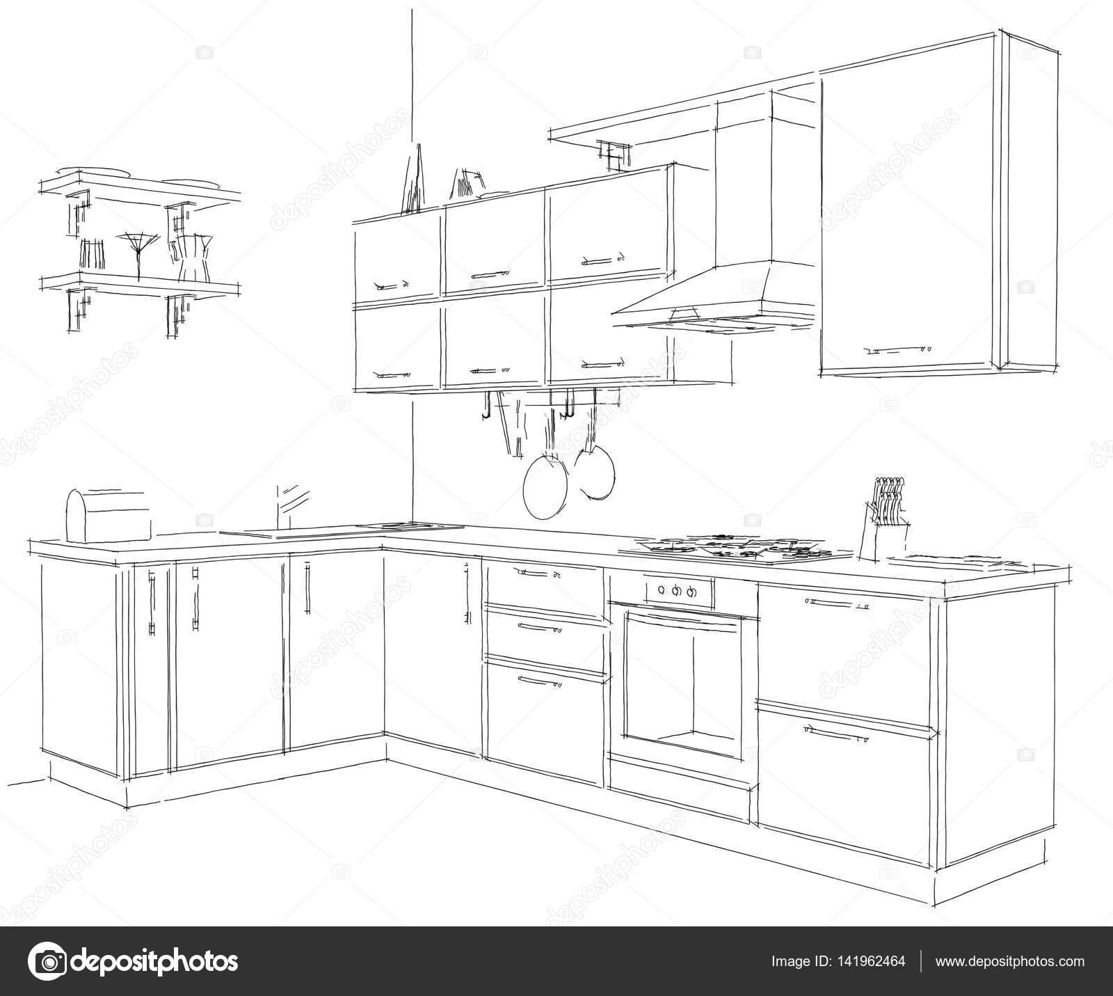 Moderne Ecke Küche Rahmen Skizze Schwarz und weiß. 3D illustration ...