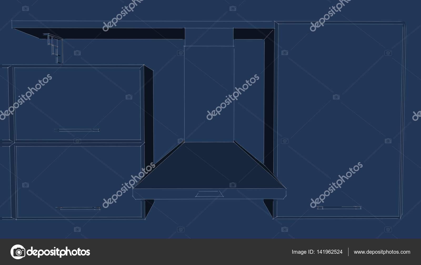 Dunstabzugshaube mit schränke blau layout u stockfoto scale