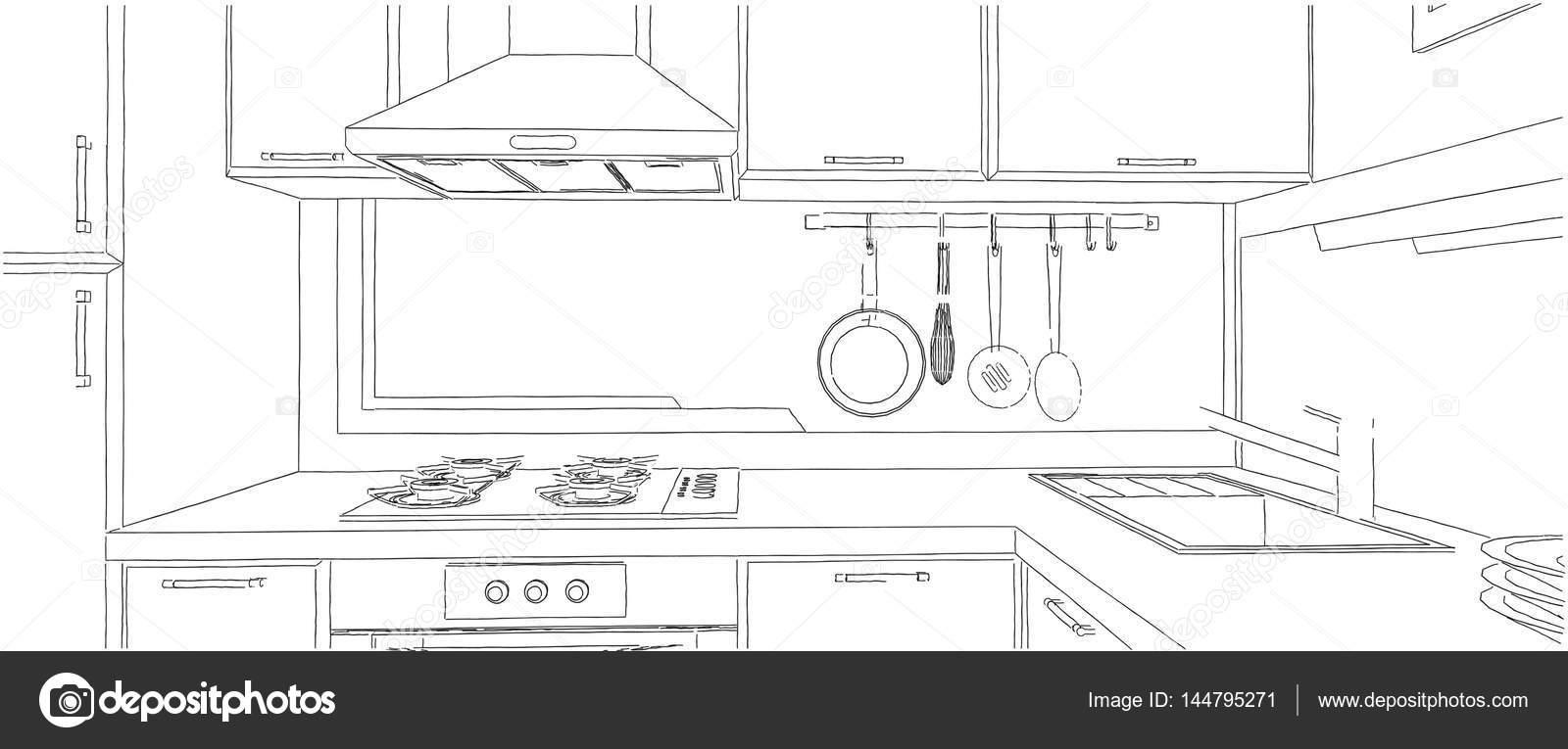 Dibujo interior de Contemporáneo esquina cocina con utensilios de ...