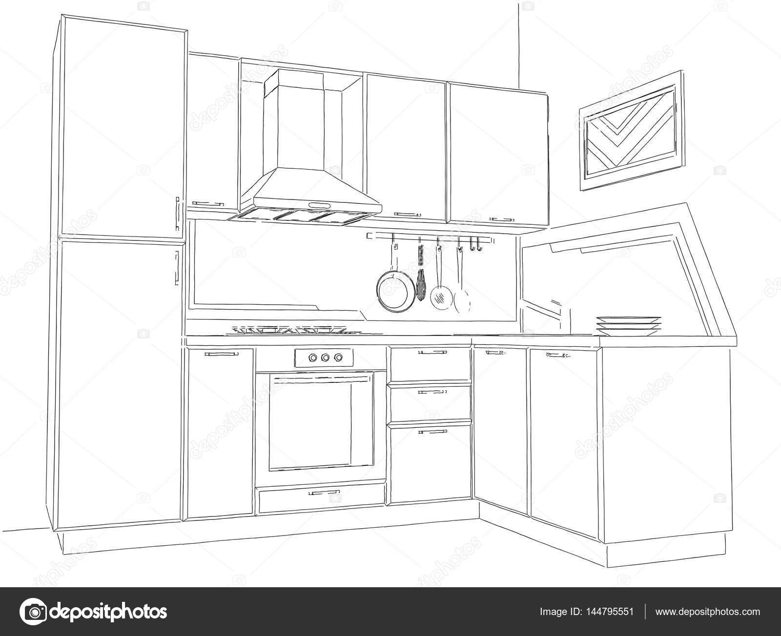 fabulous dessin de coin de cuisine moderne noir et blanc